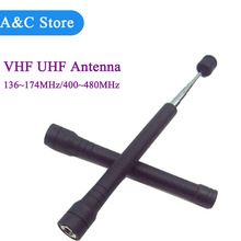 UV telescopic antenna 143-170MHz 400-480MHz antenna SMA Male connector for walkie talkie robber dual band antenna