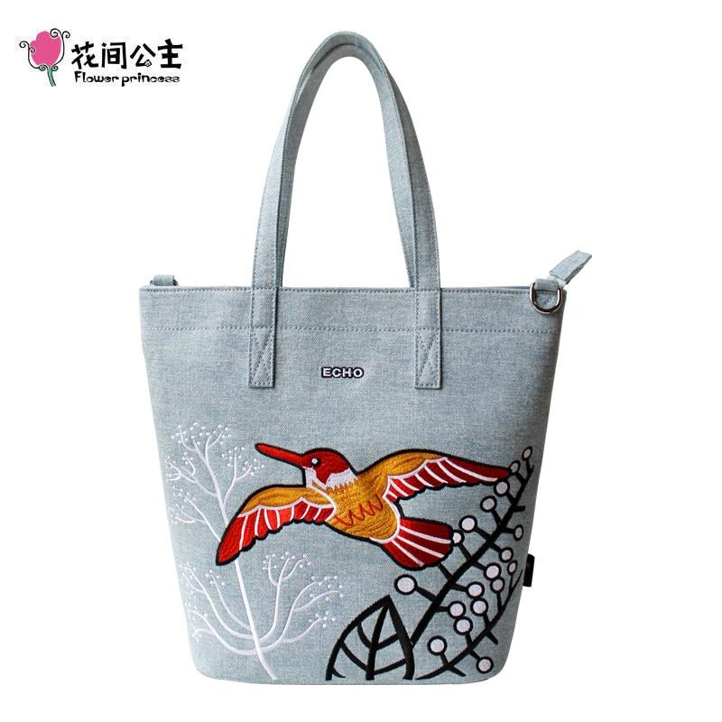 花の王女デニム刺繍ショルダーバッグハンドバッグ女性ティーンエイジャーガールズレディースファッションハンドバッグ婦人 Tassen bolsos mujer  グループ上の スーツケース & バッグ からの ショッピングバッグ の中 1