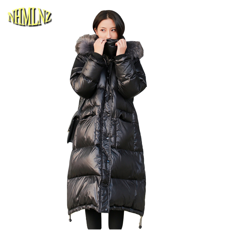 Women   Down   jacket New Large size High quality Warm Hooded White duck   down   Fashion Solid color Fur collar Women's   Down     Coat   LH369