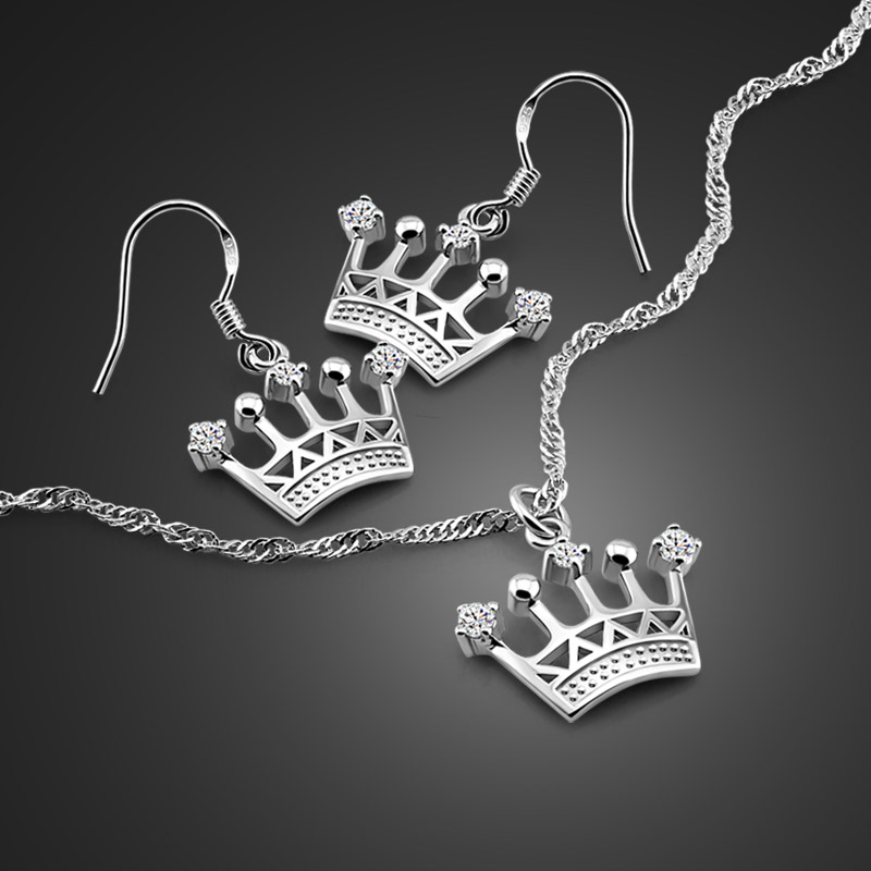 Sterling Silver Crown Pendant Necklace Contemporary jewelry gift for girlfriend Modern chunky silver crown necklace