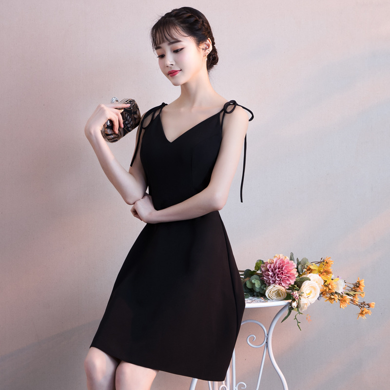 Cocktail     Dress   Little Black Spaghetti Strap V-neck Party Formal   Dress   Elegant Bow Knee Length A-line New Fashion Prom Gown E299