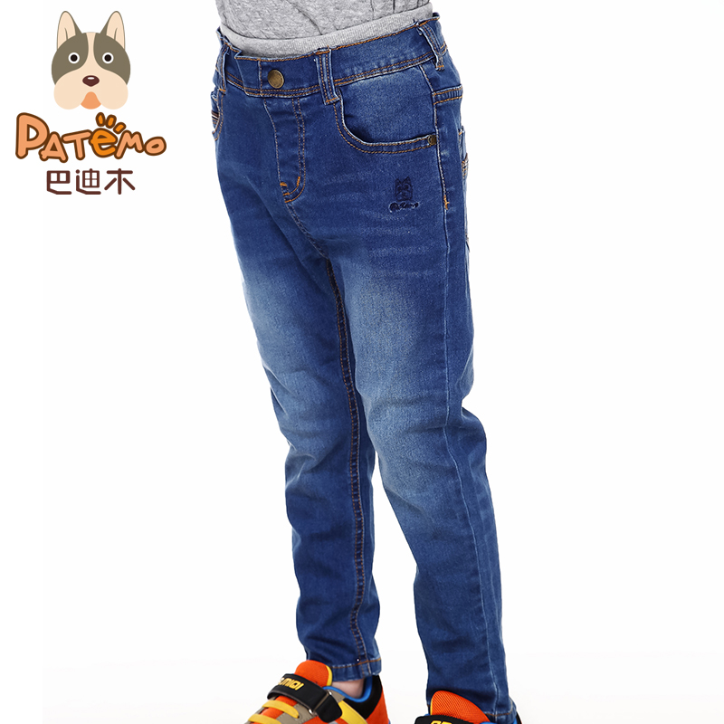 PATEMO Brand Kids Boys Jeans Pants 2015 Autumn&Winter Elastic Waist Boys Jean Full Length High Quality Brand Children Clothes