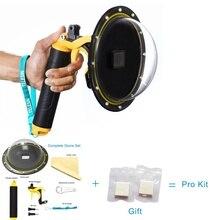TELESIN Dôme Port Lens Cover Case Boîtier Étanche + Anti-brouillard Inserts pour GoPro Hero 5 Noir Tir Sous-Marin accessoires