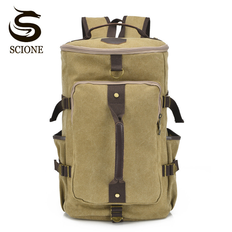 Scione Canvas Travel Backpack Male Large Capacity Luggage Bag Pack Vintage School Bagpack for Men Bag Rucksack Multifunctional vintage backpack large capacity men male luggage bag school travel duffle bags large high quality escolares new fashion
