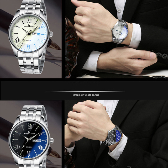 KEEP In Touch Men's Quartz Wristwatches Luminous Hands Business Calendar Watch Men Stainless Steel Waterproof relogio masculino