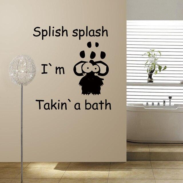 Splish splash im taking a bath vinyl bathroom wall decal fun wall sticker