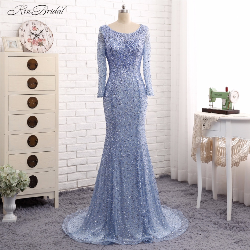 Vestido de Festa   Evening     Dresses   Long Mermaid Scoop Neck Long Sleeve Formal Party Prom Gown Beaded Robe de Soiree 2017
