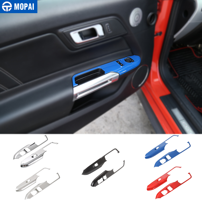 MOPAI Car Interior Window Lift Switch Button Panel Decoration Cover Trim Stickers for Ford Mustang 2015