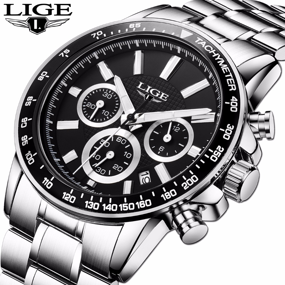LIGE Luxury Brand Watches Men Six pin Full Stainless steel Military Sport Quartz Watch Man Fashion Business Casual  Wristwatches onlyou brand luxury fashion watches women men quartz watch high quality stainless steel wristwatches ladies dress watch 8892