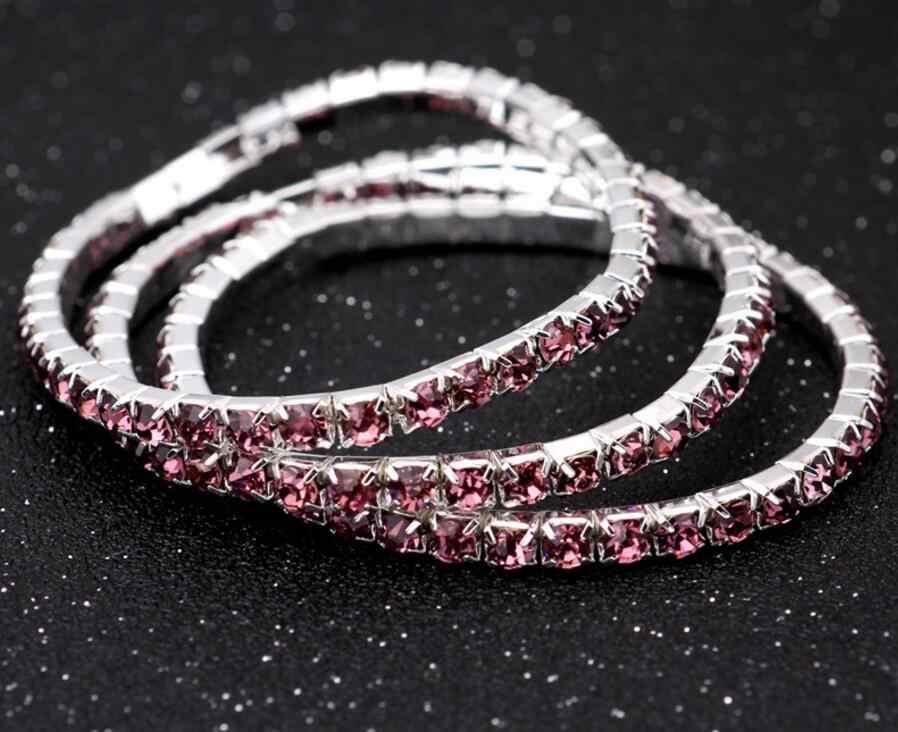 f43f5b4f265 ... 1 Row Crystal Single Bangles Stretched Elastic Strand Wrist Rhinestone Wristband  Cuff Bracelet Women Wedding Party ...