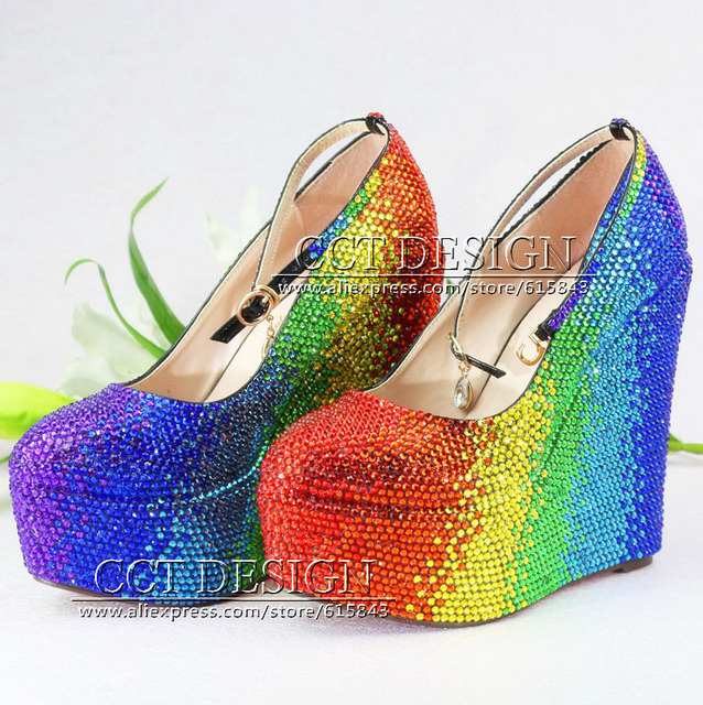 Colorful Red Yellow Green Blue Rhinestone Wedding Wedges Customized Crystal  High Heels Wedge Pumps Party Prom Shoes Size 11 ef6b6fbe3