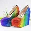 Colorido Rojo Amarillo Verde Azul Rhinestone Cuñas de Boda Personalizado de Cristal Del Partido de Baile Zapatos de Tacón de Cuña Bombas Tamaño 11