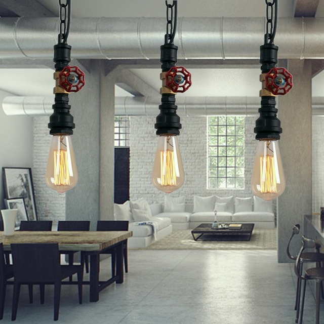 rustique lampes suspendues industrielle vintage lampe suspension luminaire d 39 eau tuyau cha ne. Black Bedroom Furniture Sets. Home Design Ideas