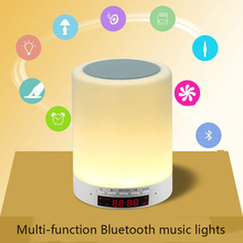 2017 Intelligent alarm clock USB power supply Bluetooth speaker touch dimming table lamp and colorful night light function