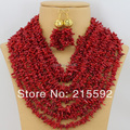 Free Shipping African Nigerian Wedding/Anniversary Red Coral Beads Jewelry Set  Wholesale CJ005