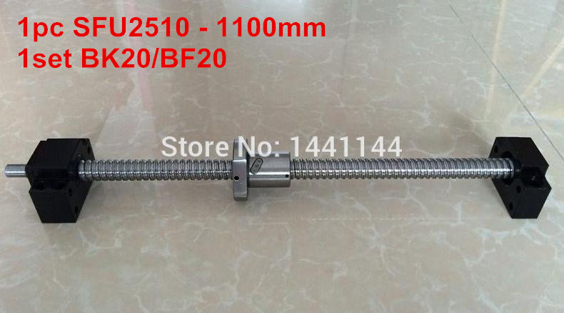 SFU2510 - 1100mm ballscrew + ball nut  with end machined + BK20 BF20 Support sfu2510 1200mm ballscrew ball nut with end machined bk20 bf20 support