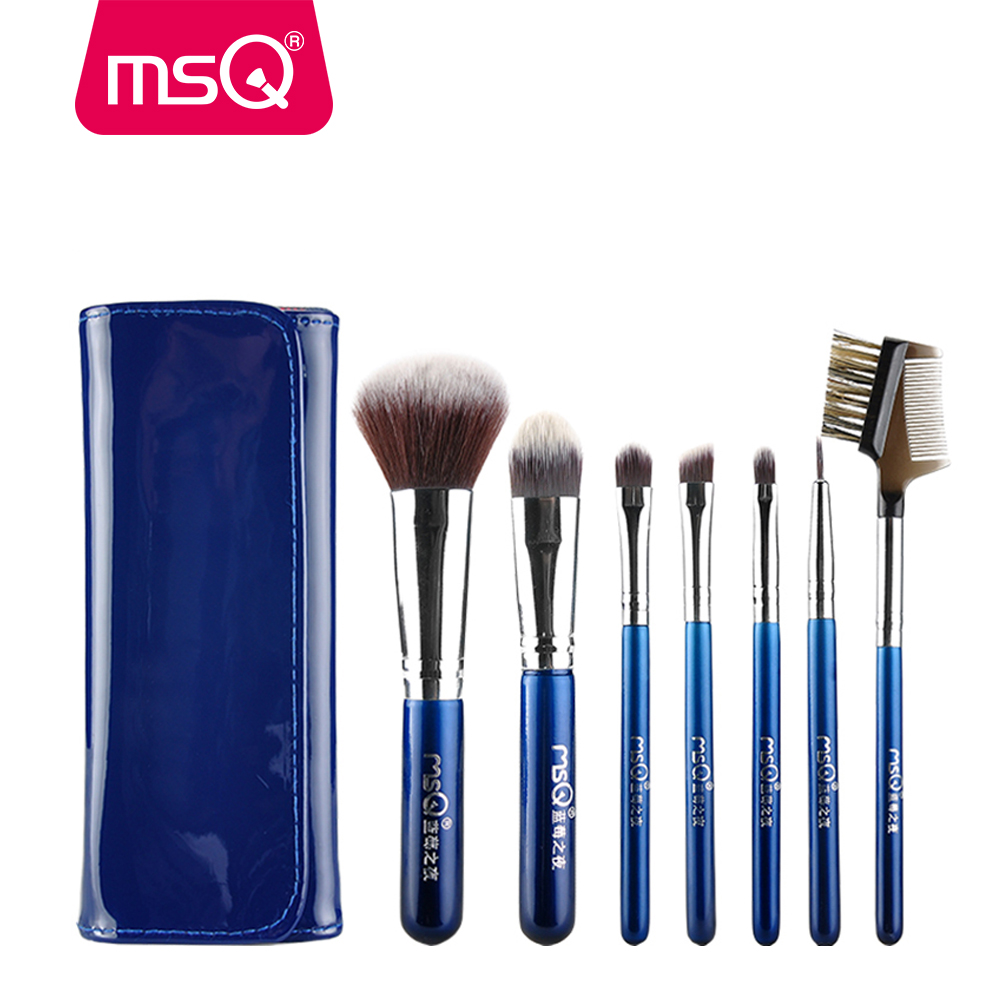MSQ Professional 7pcs Travel Makeup Brushes Set Soft Synthetic Hair With High Quality PU Leather Case For Fashion Beauty msq professional 15pcs makeup brushes set soft synthetic hair natural wood handle with pu leather case for beauty fashion tool