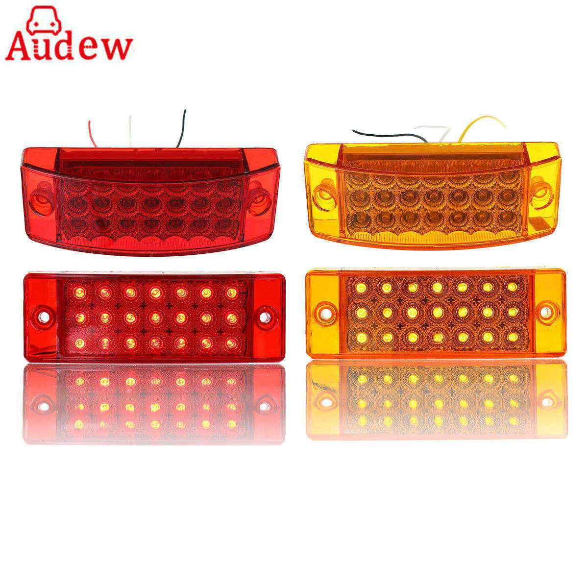 1Pcs 24V 6 Rectangular 21 LED Yellow red Car Side Marker Light Clearance Light 3 Wire Hi-Low Beam For Truck Trailer mr16 0 06w 5lm 630nm red light car clearance lamps silver red multi color 2 pcs