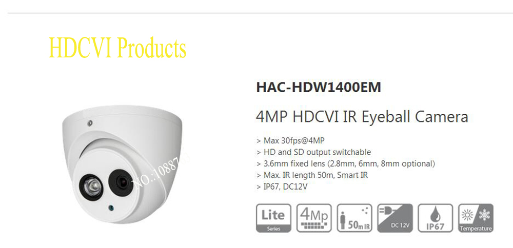Free Shipping DAHUA CCTV Security Camera 4MP HDCVI IR Eyeball Camera without Logo HAC-HDW1400EM free shipping dahua cctv security camera 4mp hdcvi ir eyeball camera without logo hac hdw1400m