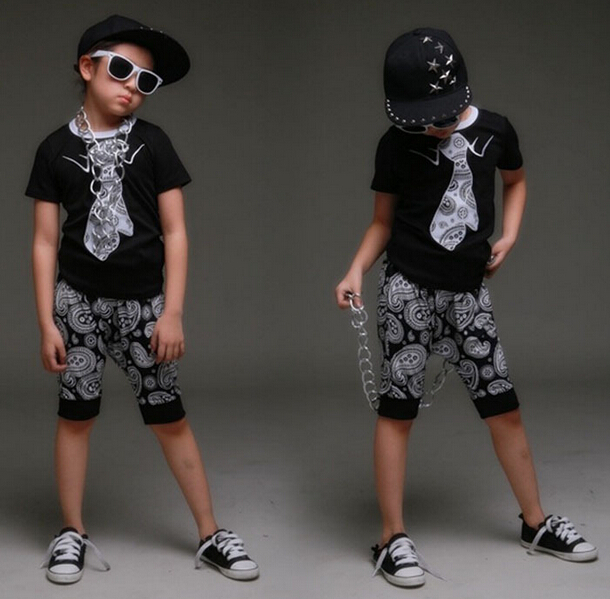 spring summer children's clothing set Costumes Hip Hop dance Cashew flowers shorts &  Flase tie T-shirt kids  suits twinset spring new female ballet dance dresstutu child adult costumes performance clothing trade of the original single