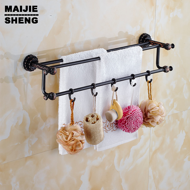 Double towel bar Antique brass 60cm Double towel bars bathroom towel rack wall mounted antique bathroom towel bars european antique brass double towel bars luxury towel rack towel bar wall mounted towel holder bathroom accessories zl 8711f