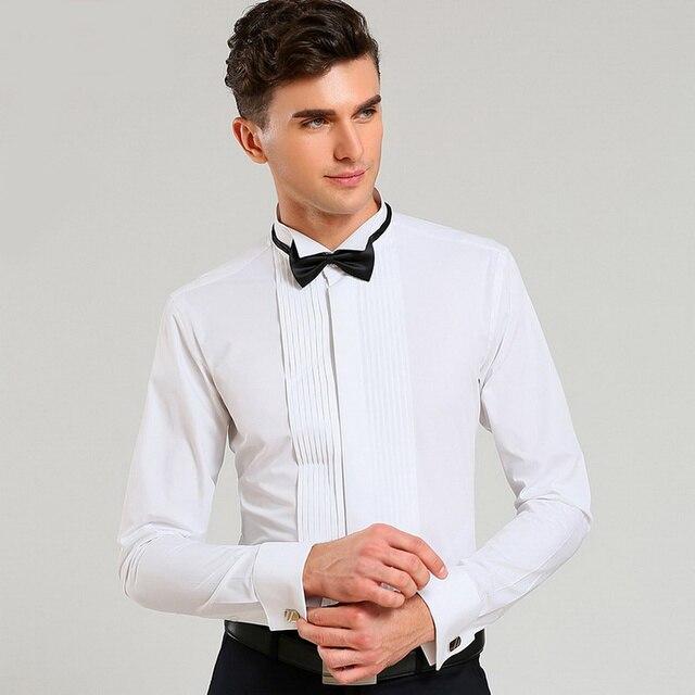 Los hombres del trago del collar camisa de manga larga del vestido de boda del novio Francés gemelos show banquete camisa blanca ajustada