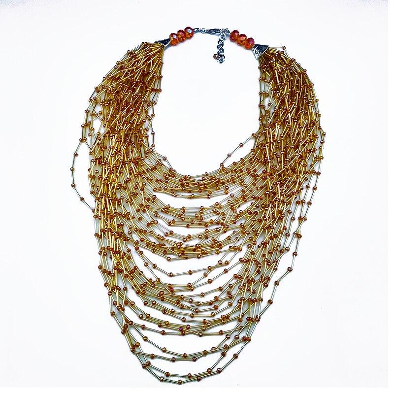 Chaîne multicouche en cristal et tube de verre fait à la main colliers style bohème brin dames accessoires quotidiens femme bijoux
