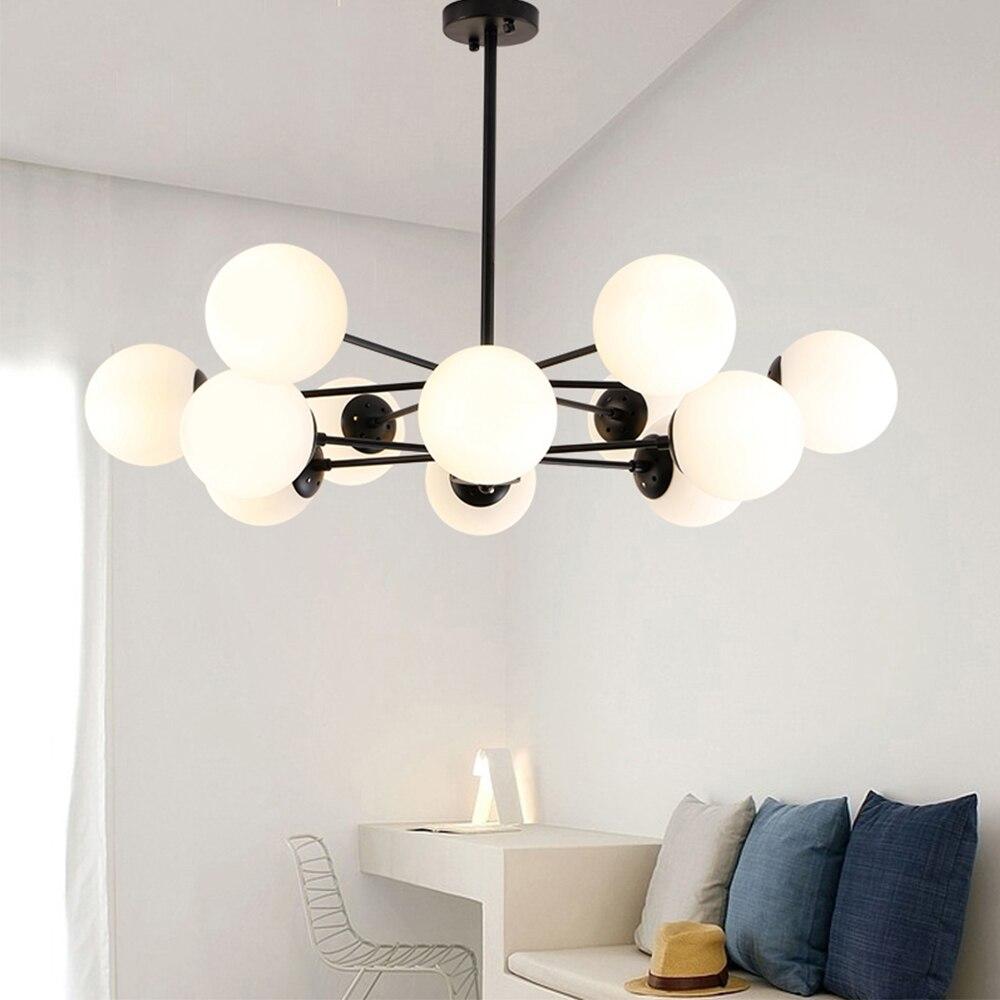 Nordic Стиль светодиодный педант свет с круглый шар bean Форма стекла материал для гостиной столовой Спальня постмодерн Стиль