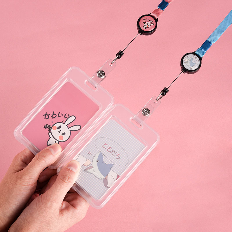 2pcs Name Credit Card Holders Neck Strap Lanyard Badge Holder Staff Identification Card Id Holders Kawaii Stationary Papeleria Back To Search Resultsoffice & School Supplies