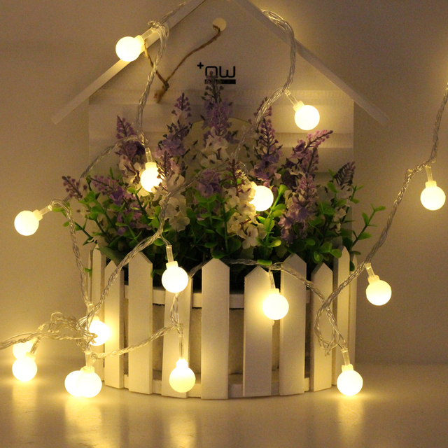 LED Ball String Christmas Fairy Lights Warm White 220V Battery Box /USB / 220V Holiday Lighting Festival Wedding Decoration