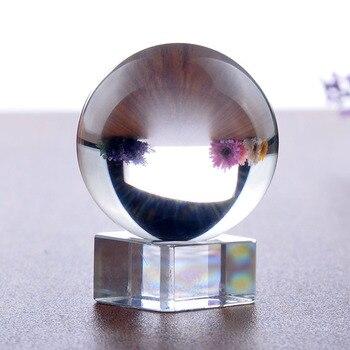 H & D 40mm Klar Kristall Ball Mystische Quarz Ball Fotografie Requisiten FengShui Divination Kugeln Tabletop Dekorationen mit Stand