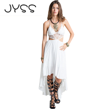 JYSS New Fashion Bohemian Women Dress Sexy Hollow Out Backless completely different size Perspective Low strapless camis gown 80681