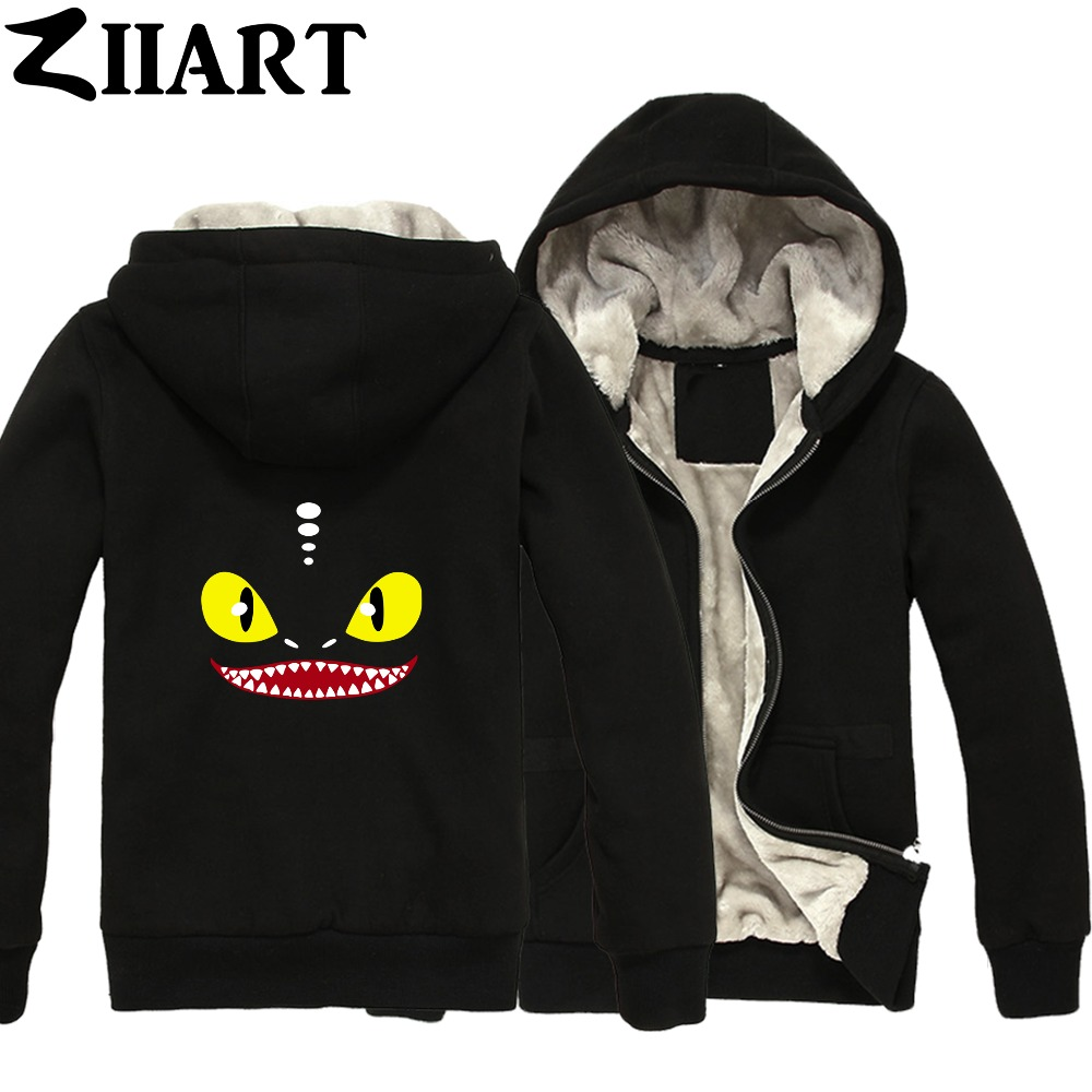 Toothless Night Fury How to Train Your Dragon Couple Clothes Boys Man Male Full Zip Autumn Winter Plus Velvet   Parkas   ZIIART