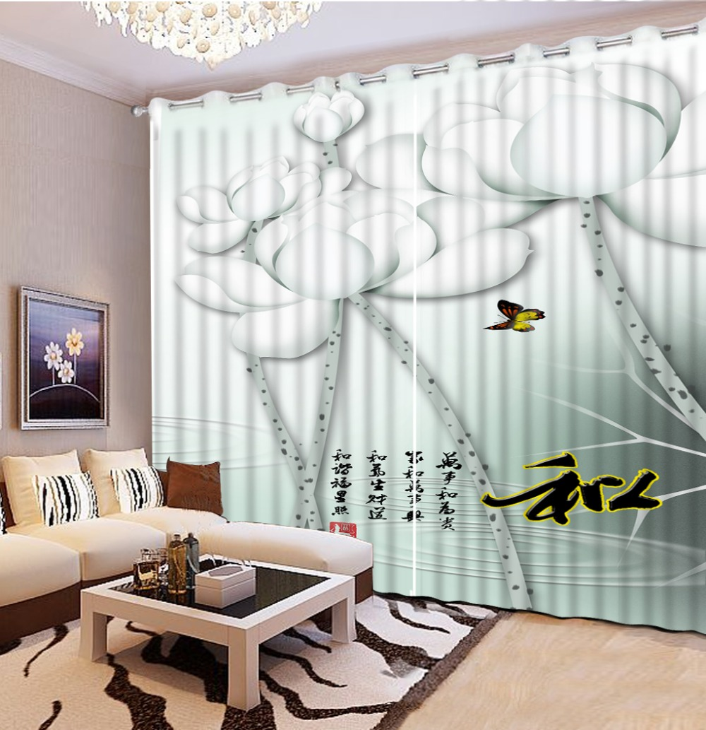 3D Curtains Bed Room Living Room Office Hotel Cortinas Simple Lotus Custom Any Size 3D Curtain Blackout Shade Window Curtains3D Curtains Bed Room Living Room Office Hotel Cortinas Simple Lotus Custom Any Size 3D Curtain Blackout Shade Window Curtains
