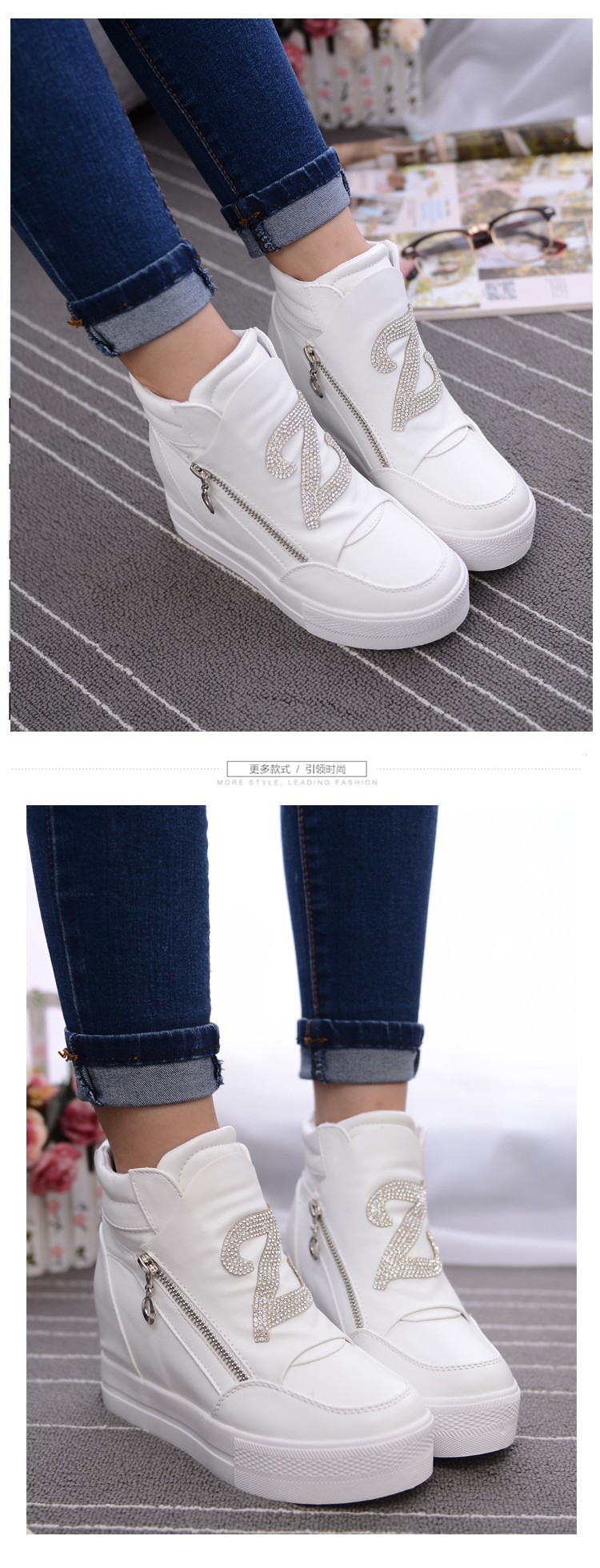 KUYUPP Women Casual Shoes Height Increasing Zipper Winter Shoes Women Sport Canvas Shoes Round Toe Black White Casual Shoes S49 (15)