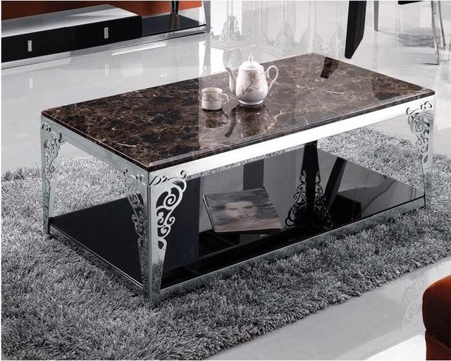 US $890.0 |Mobili in acciaio inox tavolino di vetro marmo elegante e  minimalista soggiorno stoccaggio Speciali teasideend in Mobili in acciaio  inox ...