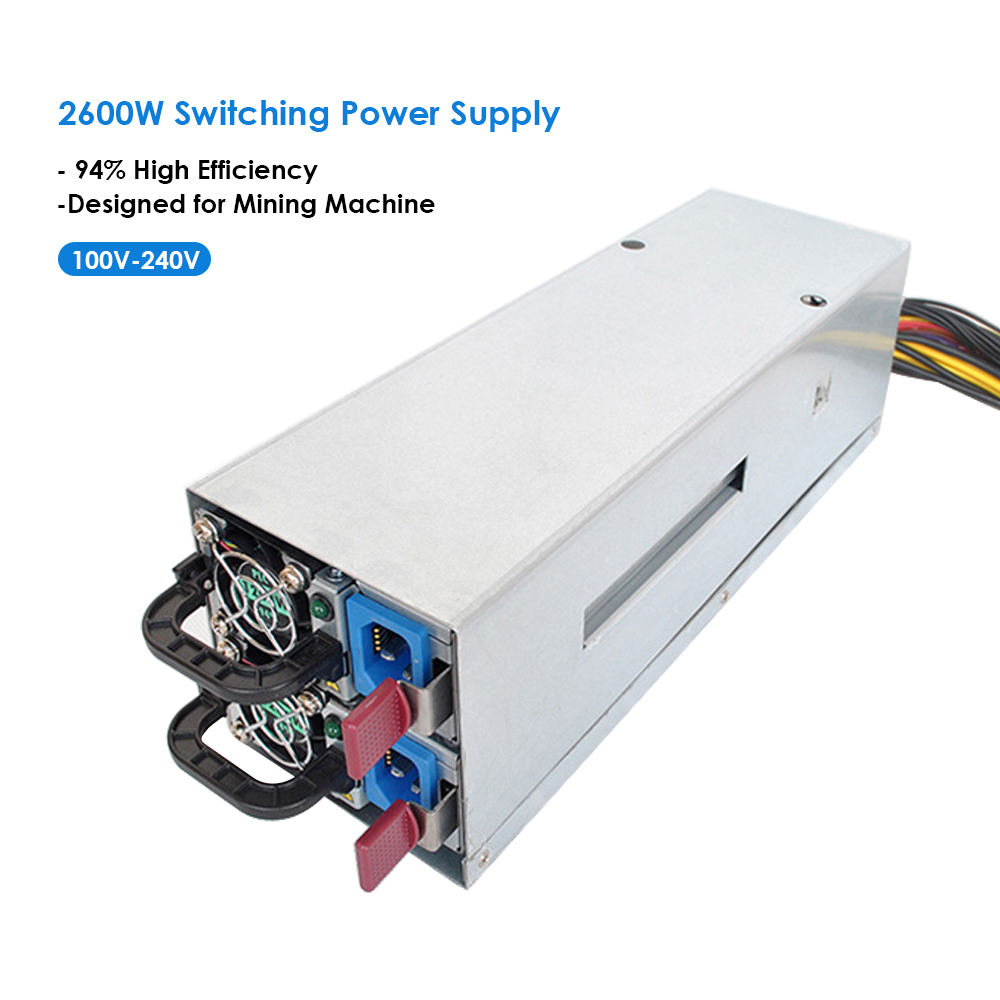 2600W Switching Power Supply 94 High Efficiency 100 240V for Ethereum S9 S7 L3 Rig Mining
