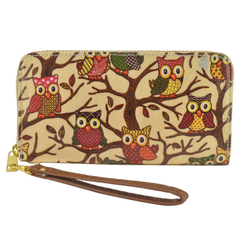 Lovely Owl Printed Zipper Long Wallet Coin Purse Card Holders Handbag Gift For Ladies Girls  LXX9
