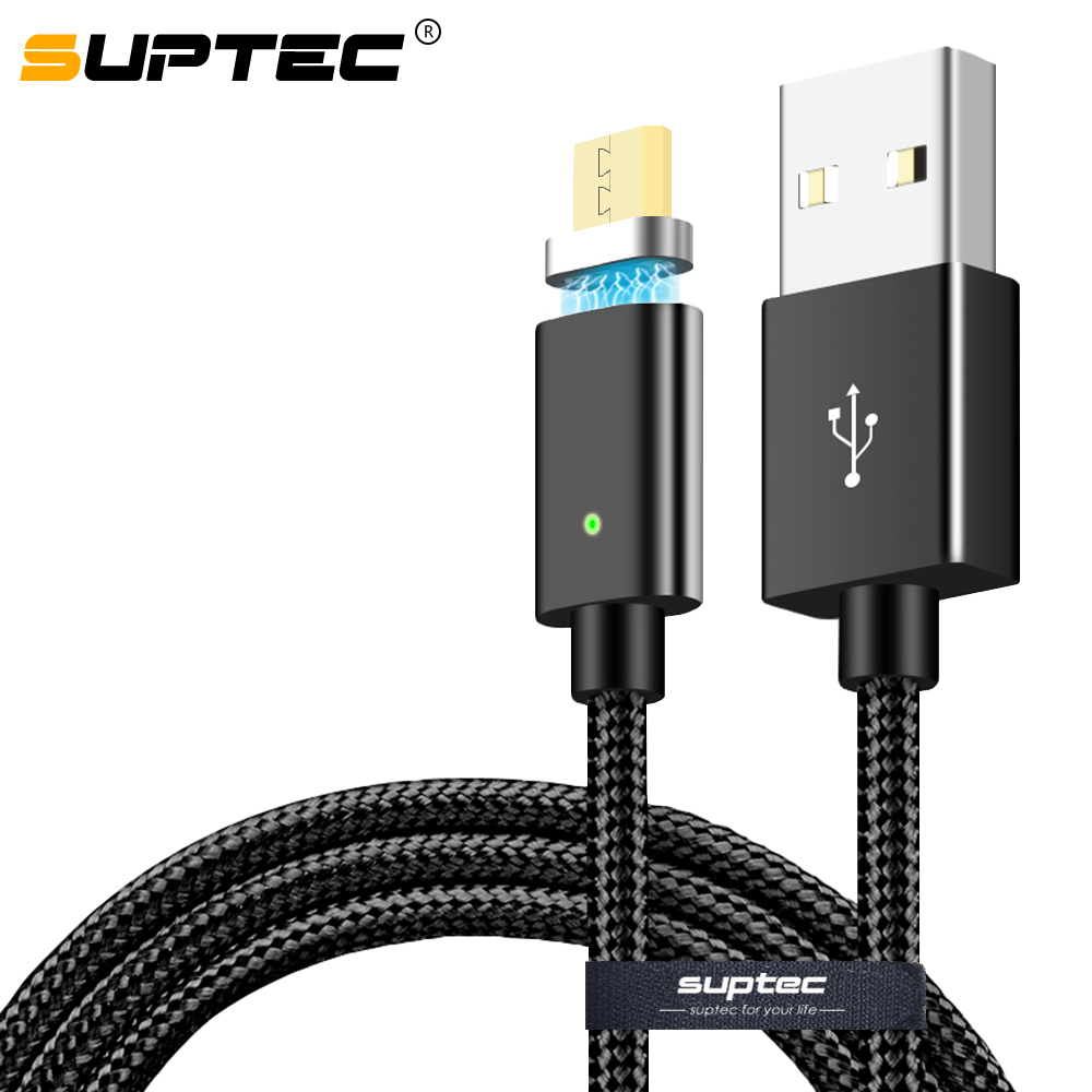 SUPTEC Magnetic Micro USB Charging Cable For Samsung Xiaomi Nylon Braided Data Sync Magnet Charger Adapter Fast Charging Cable