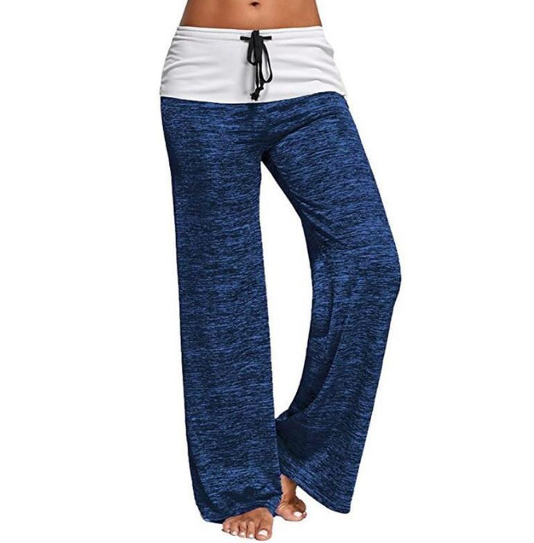 Women Fashion Casual   Pants   Splicing Sports   pants   outdoors Leisure time   Wide     leg     pants   Female Drawstring Trousers