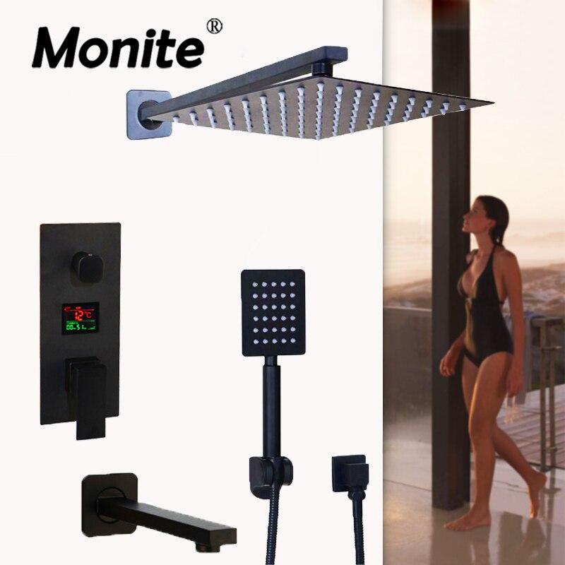 Monite Black Brass Shower Head 2 ways Digital Display Mixer Taps Bathroom Shower Faucet 3 Functions