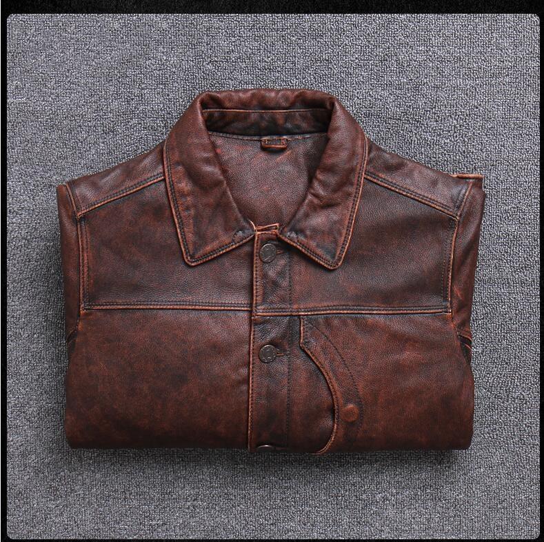 HTB1zc3nPb2pK1RjSZFsq6yNlXXaK 2019 Vintage Brown Men Smart Casual Leather Jacket Single Breasted Plus Size XXXL Genuine Cowhide Russian Coat FREE SHIPPING