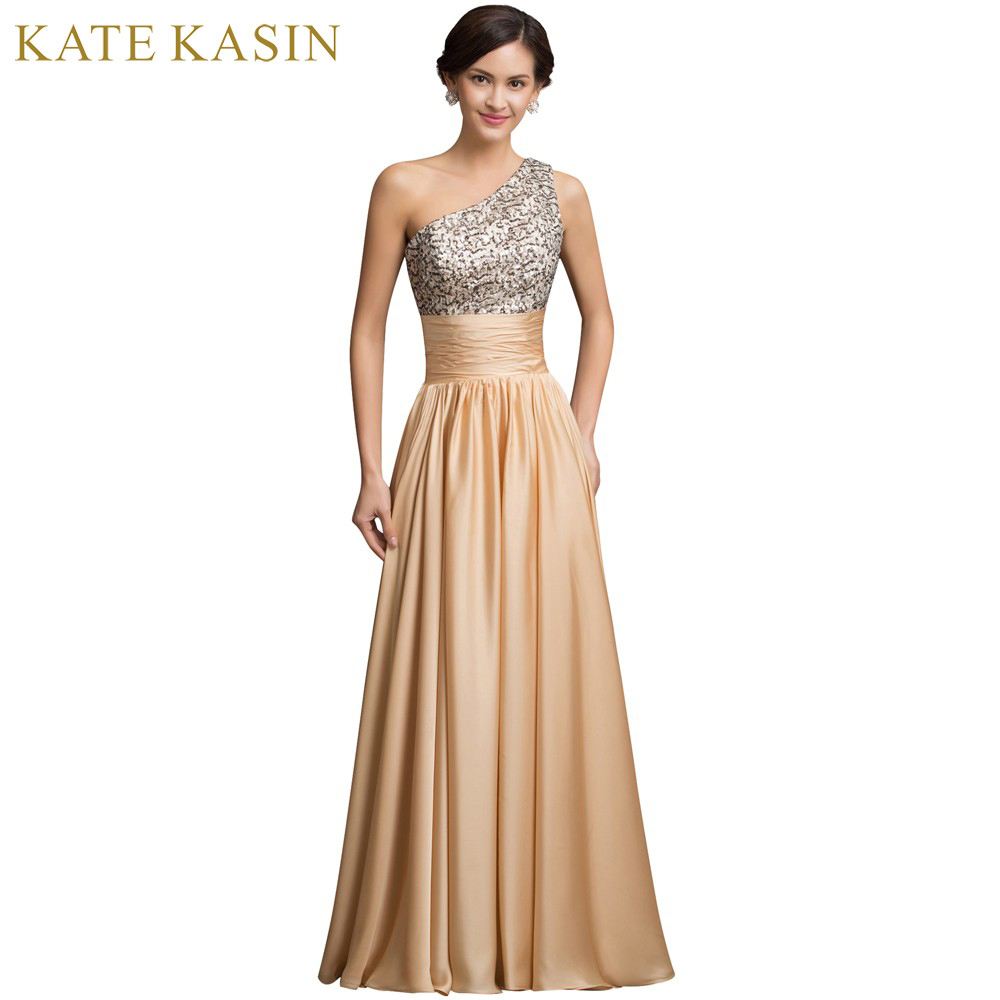 Robe de Soiree Gold Sequins Long Evening Dress Women