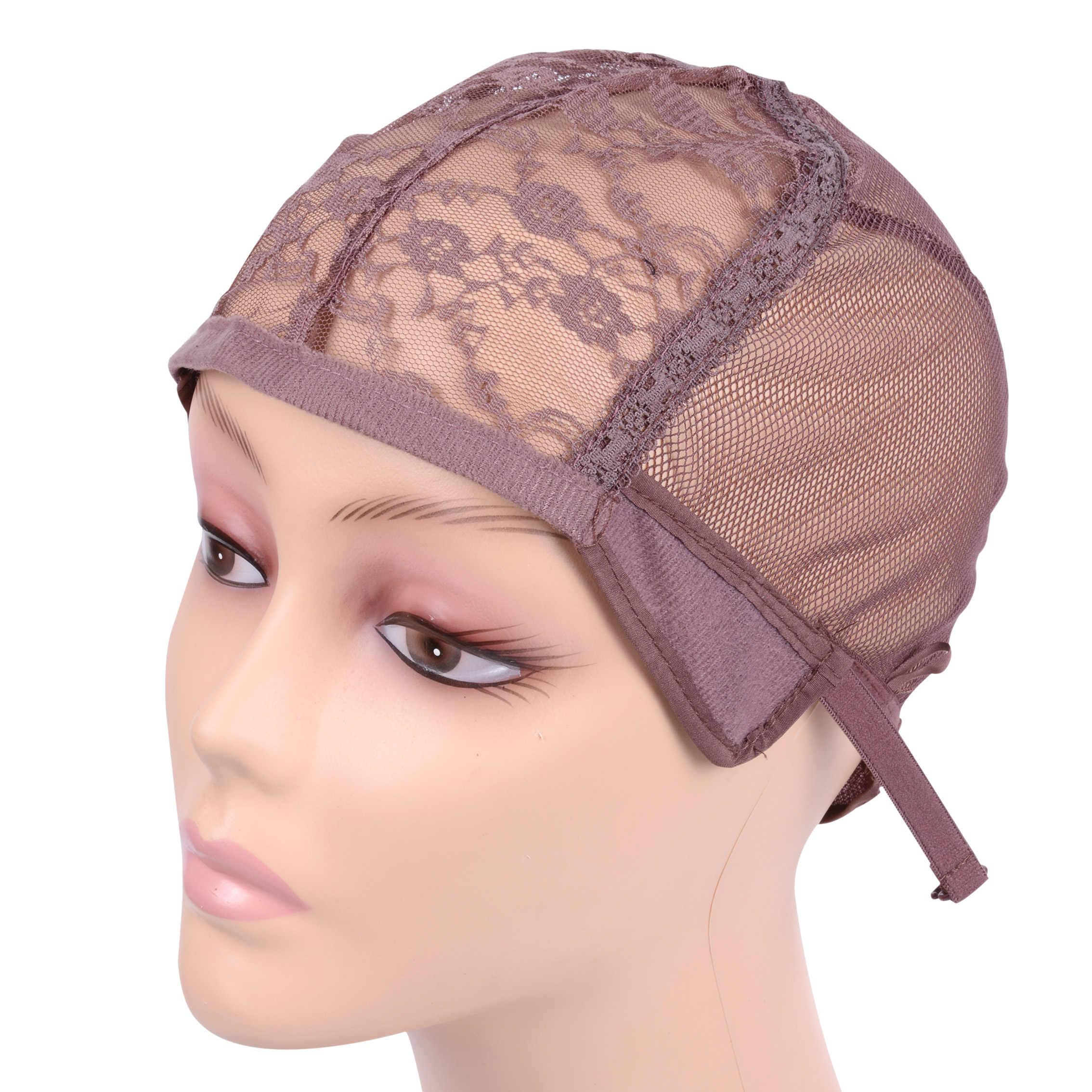 Peruk kap peruk yapımı İçin ayarlanabilir kayış ile geri dokuma kap boyutu tutkalsız peruk kapaklar kaliteli Saç net Siyah