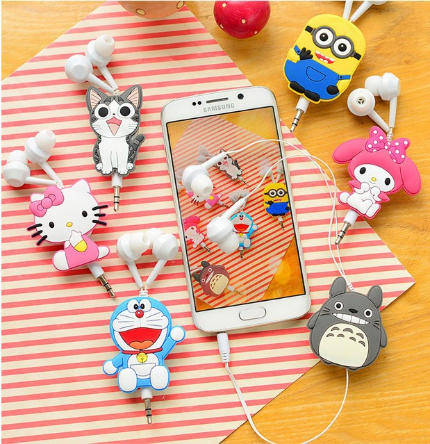 Good Gift 3 5mm Cartoon Earphone headphone headset earbuds retractable headphones For Samsung Xiaomi HTC MP3