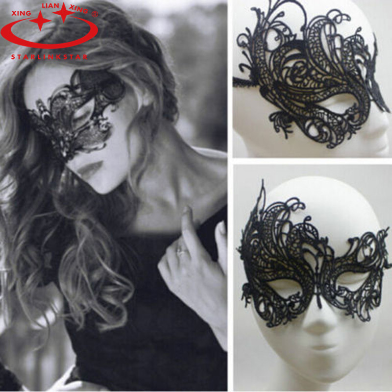 1 PCS Black <font><b>Sexy</b></font> Women Lace <font><b>Eye</b></font> <font><b>Mask</b></font> Party <font><b>Masks</b></font> For Halloween Costumes Venetian Masquerade Carnival <font><b>Mask</b></font> For Anonymous Mardi image