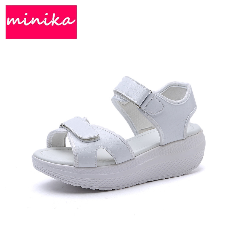 Slimming Woman Casual Shoes Summer Women's Shoes Wedges Sandals Fashion Lady Tennis Open Toe Breathable Lace Platform Sandalias