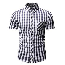 Plaid Shirt Men Short sleeve Social for Business Casual Blouse Mens clothing Slim fit New Blue Red Gray