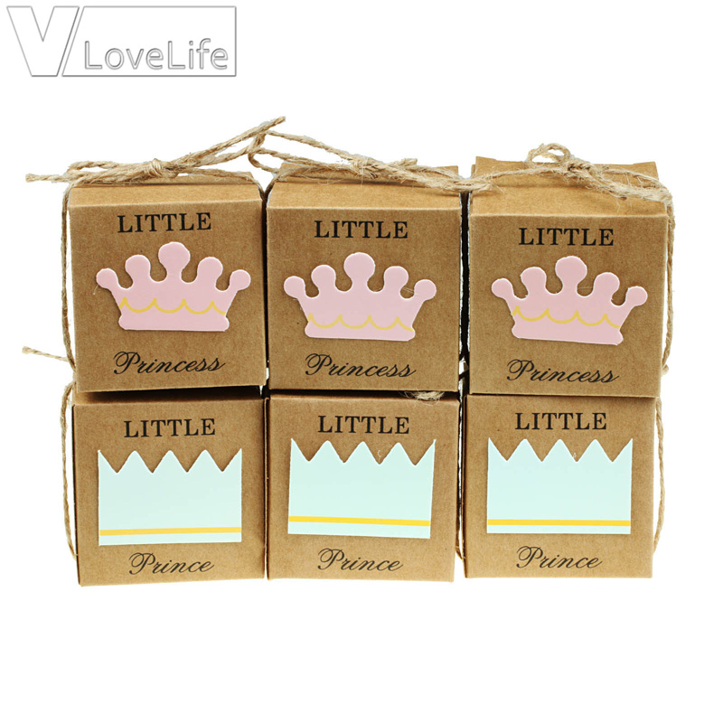 12pcs/lot Little Prince Princess Candy Box Crown Twine Kids Baby Shower Party Chocolate Boxes Wedding Favors Supplies Gift Box
