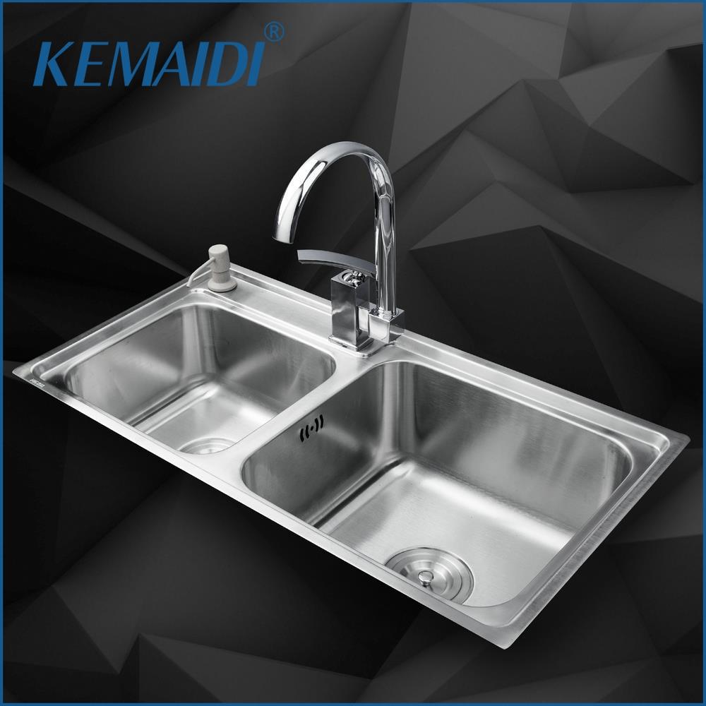 KEMAIDI Kitchen Stainless Steel Sink Vessel Kitchen Double Bowl Bathroom Mixer + Swivel Vanity Faucet + Liquid Soap Dispenser